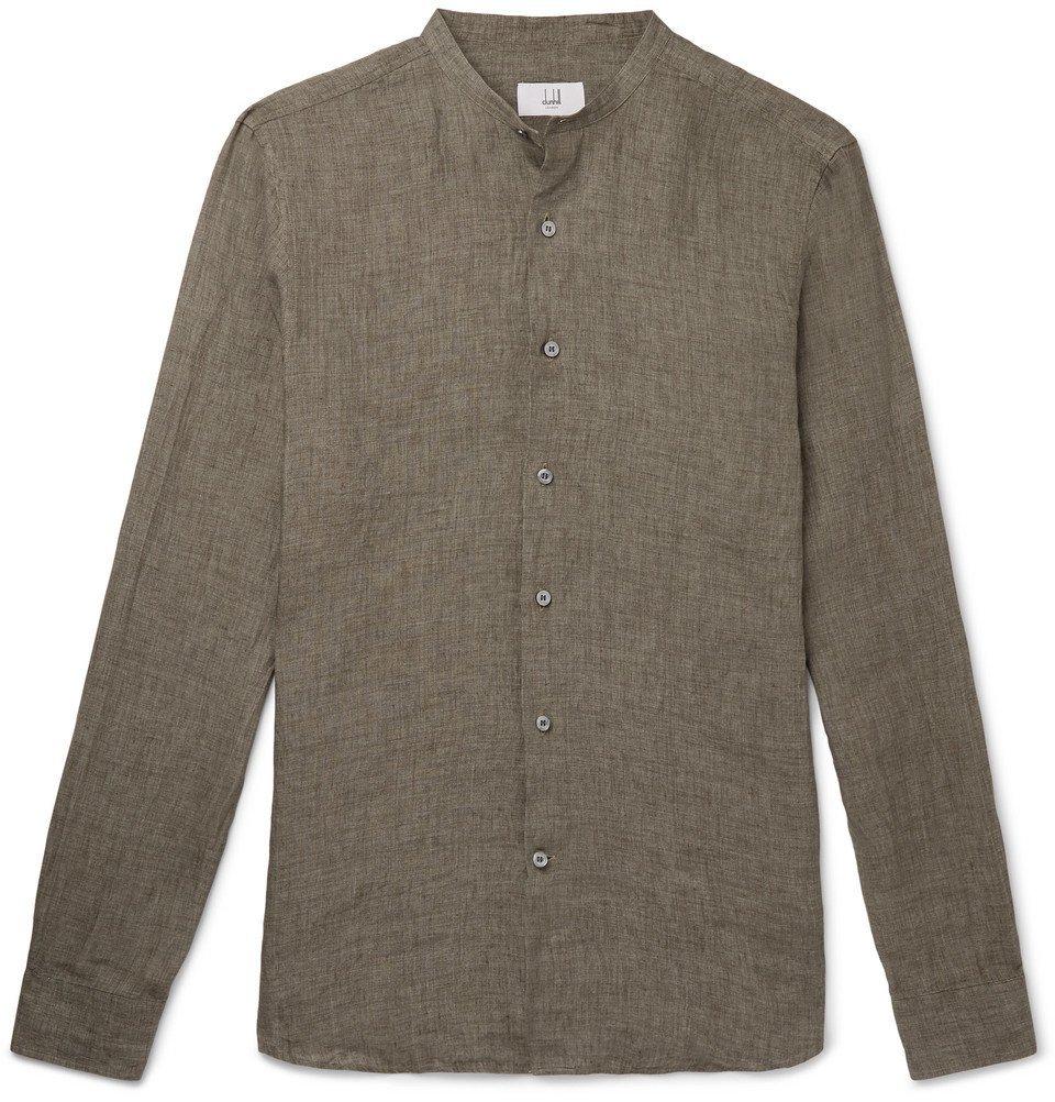 Photo: Dunhill - Grandad-Collar Mélange Linen Shirt - Green