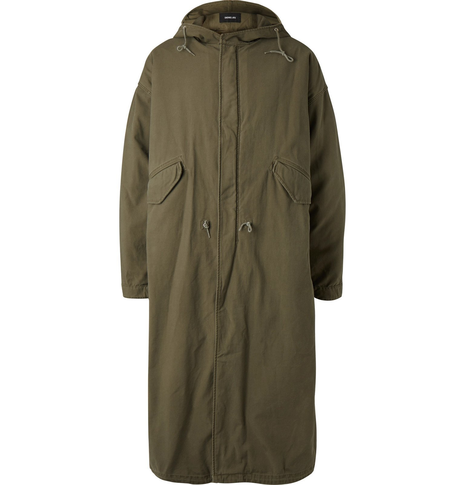 Photo: Raf Simons - Oversized Shearling-Lined Cotton-Blend Hooded Parka - Green