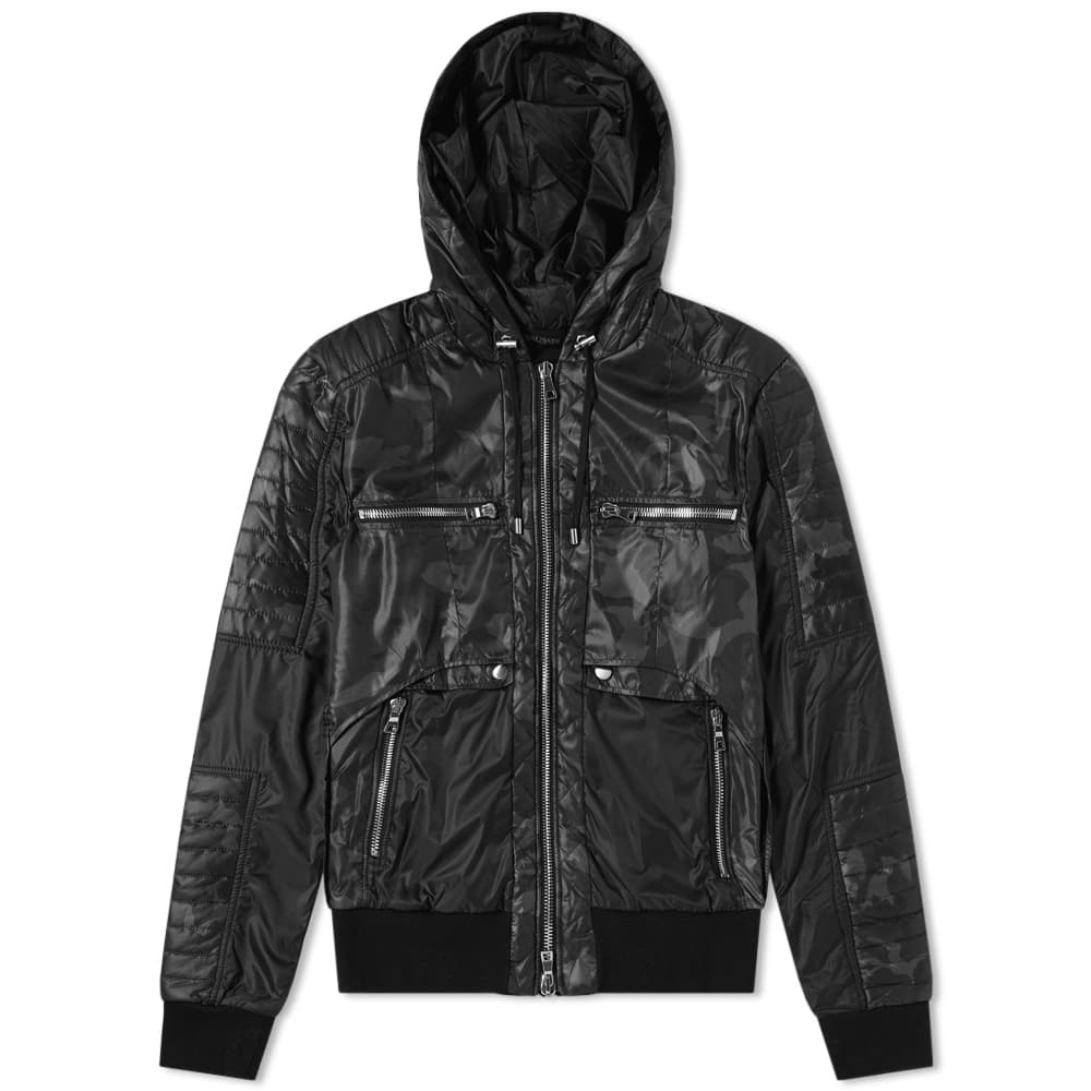 Balmain Hooded Camo Zip Biker Jacket Camo