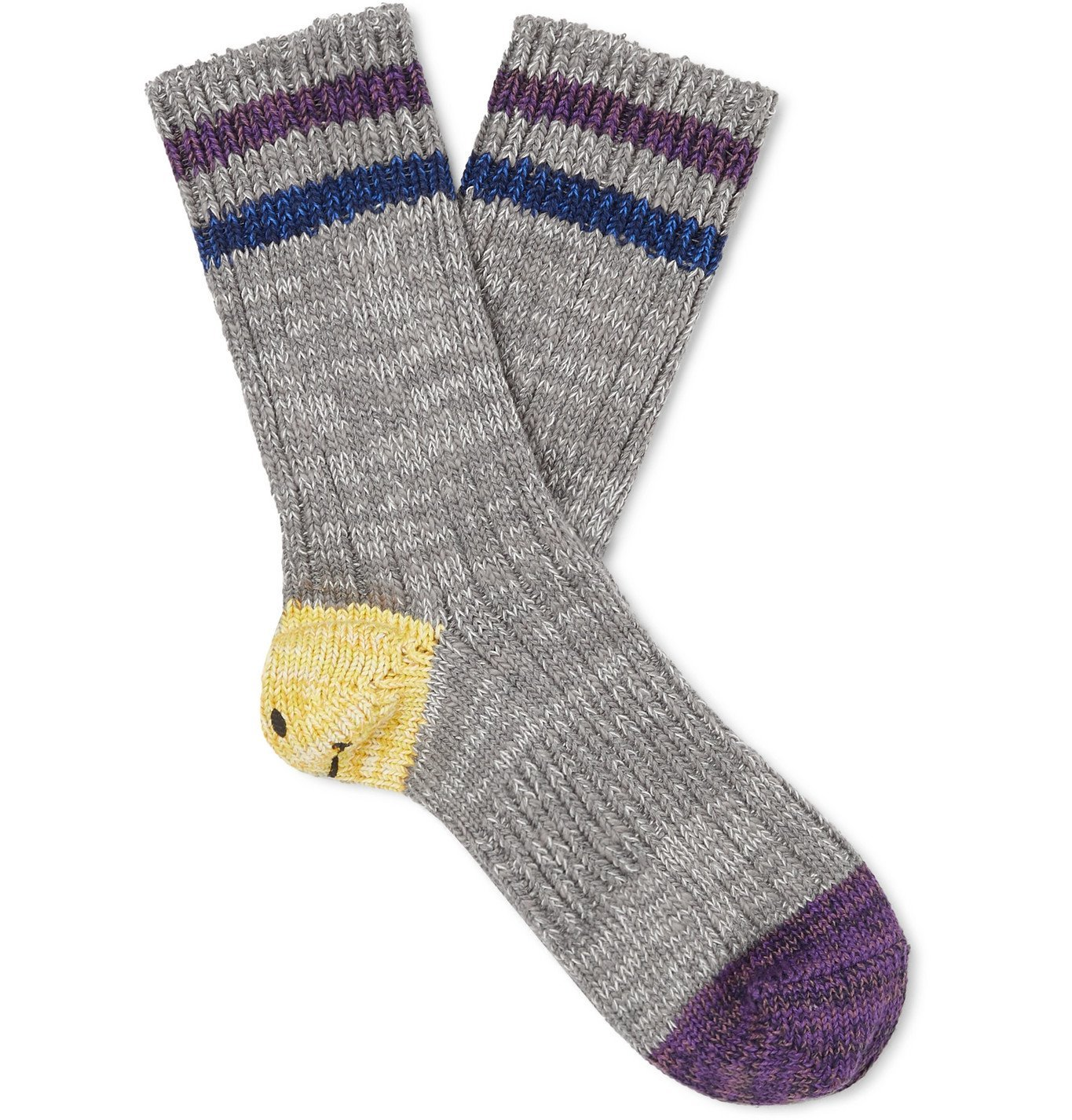 KAPITAL - Ivy Smilie Striped Cotton and Hemp-Blend Socks - Gray
