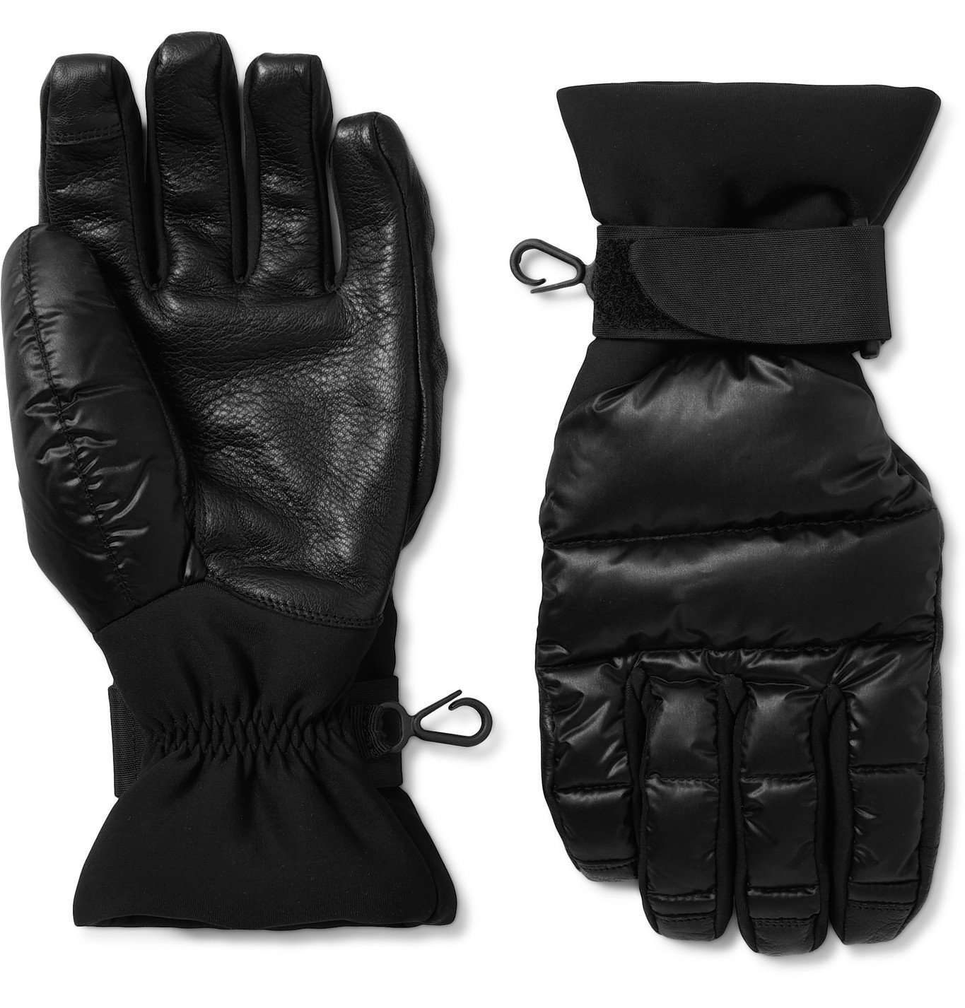 Photo: Moncler Grenoble - Logo-Appliquéd Quilted Nylon, Neoprene and Leather Down Ski Gloves - Black