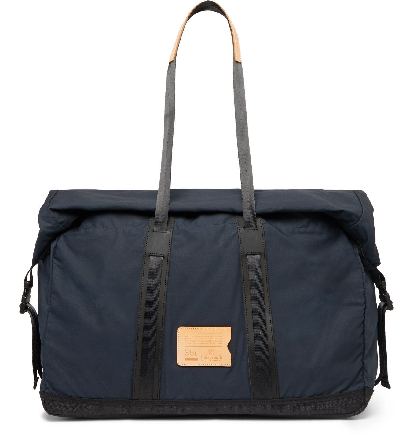 Photo: Bleu de Chauffe - Baroud Leather-Trimmed Ripstop Holdall - Blue