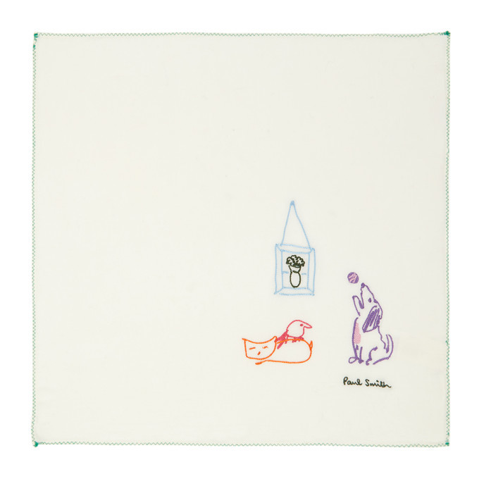 Photo: Paul Smith Off-White Pauls Drawing Pocket Square
