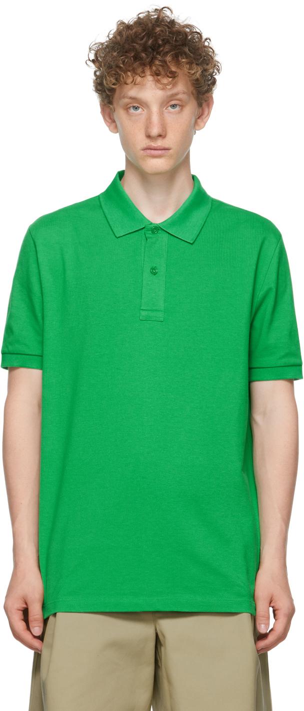 Photo: Bottega Veneta Green Piqué Polo