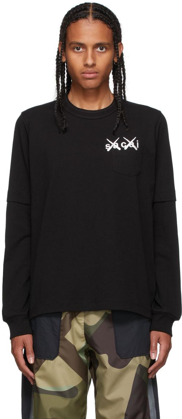 Photo: Sacai Black KAWS Edition Embroidery Long Sleeve T-Shirt