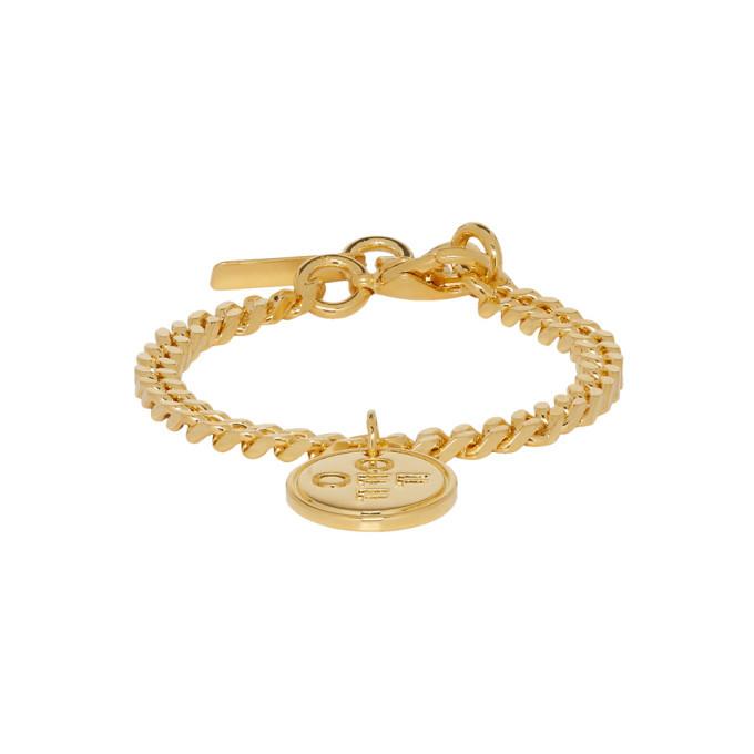 Photo: Off-White SSENSE Exclusive Gold Logo Cross Bracelet