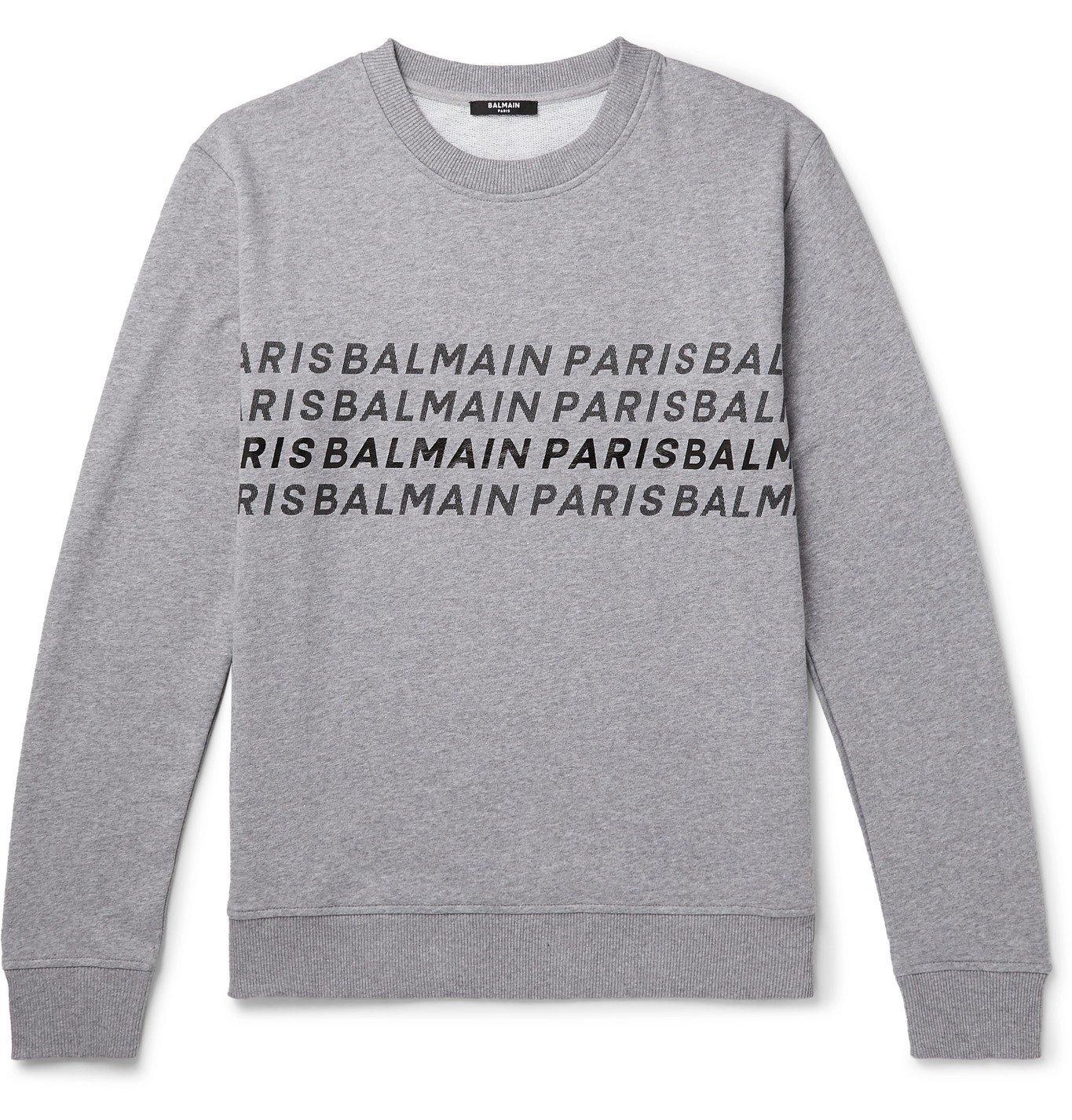 Photo: Balmain - Logo-Print Mélange Loopback Cotton-Jersey Sweatshirt - Gray