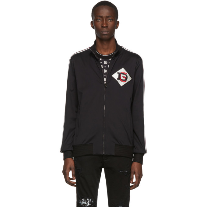 Photo: Dolce and Gabbana Black DG Patch Zip-Up Sweater