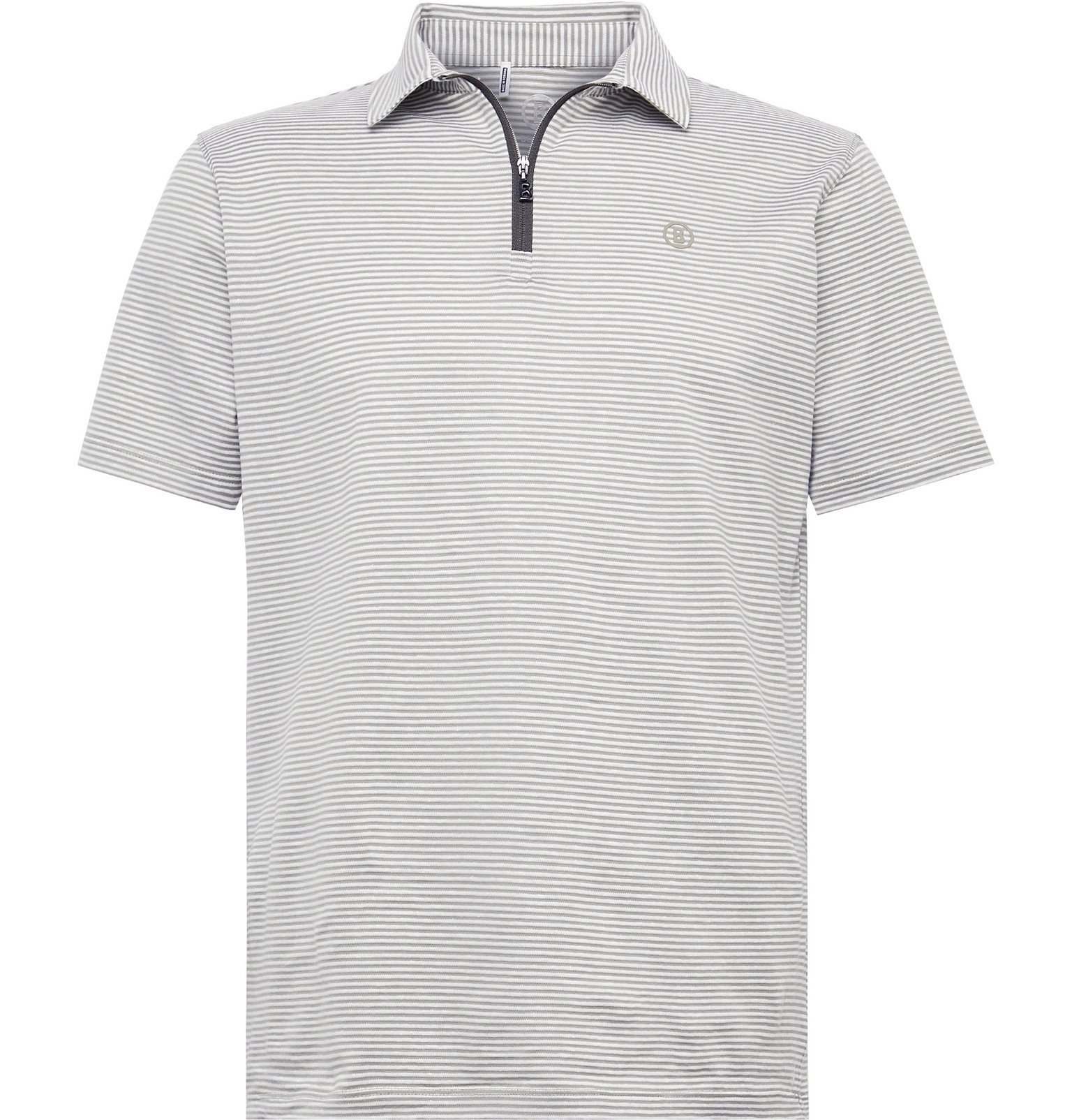 Photo: Bogner - Aires Striped Cotton and Linen-Blend Half-Zip Golf Polo Shirt - Green
