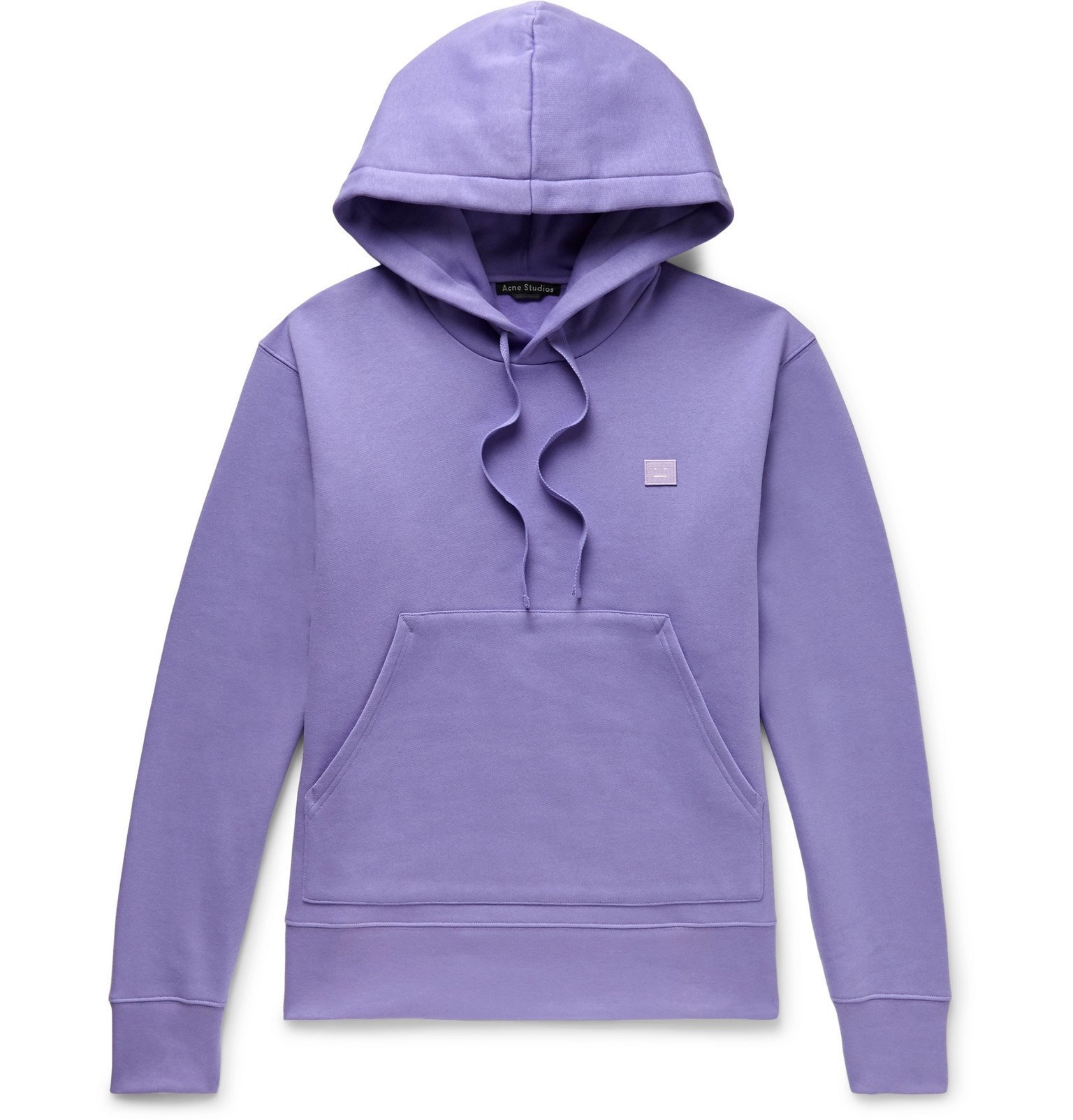 Photo: Acne Studios - Ferris Logo-Appliquéd Mélange Fleece-Back Cotton-Jersey Hoodie - Purple