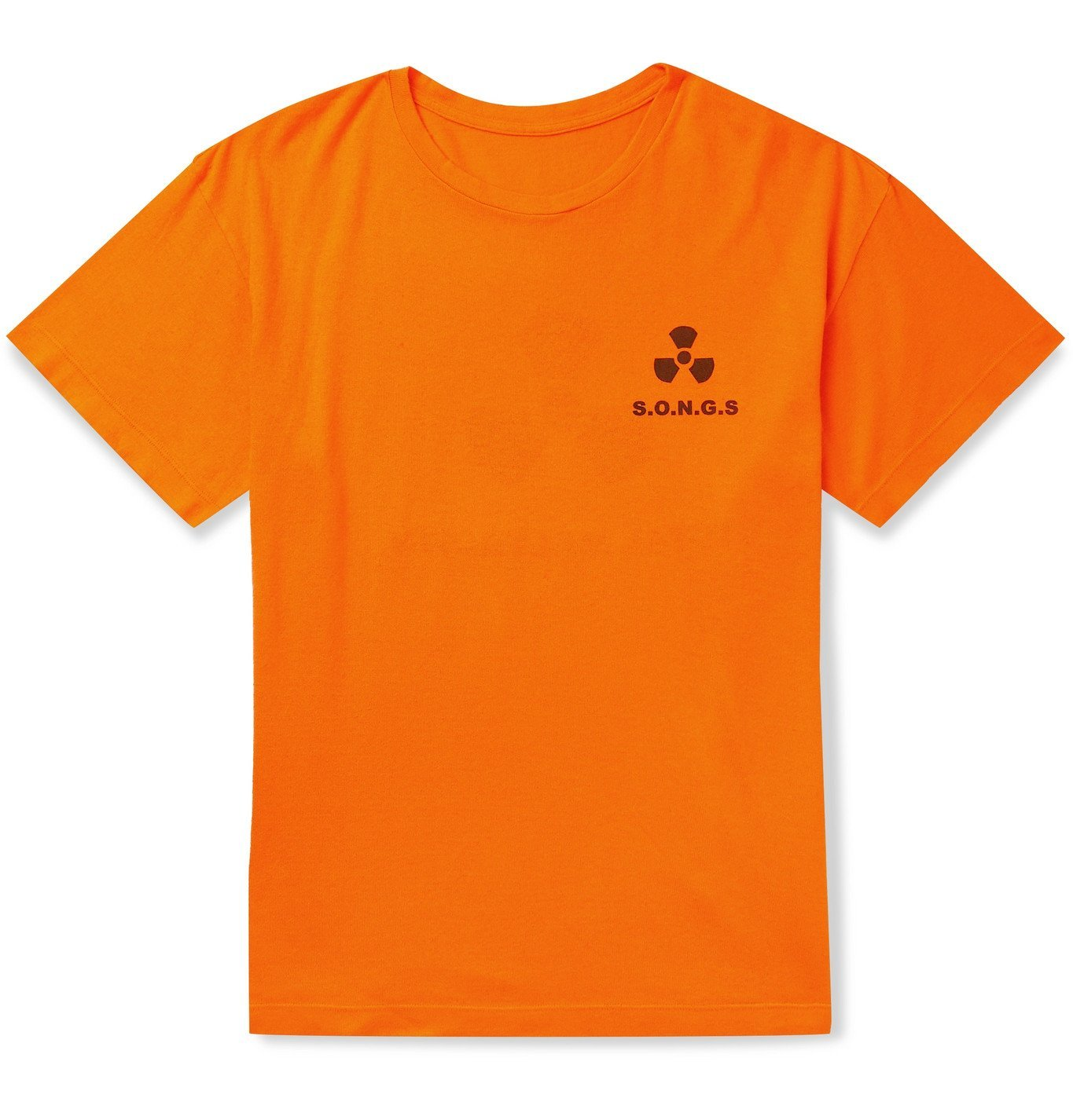 Photo: The Elder Statesman - Printed Cotton and Cashmere-Blend Jersey T-Shirt - Orange