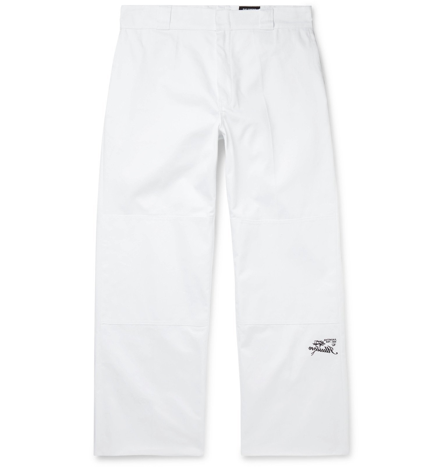 Raf Simons - Embroidered Cotton-Twill Trousers - White