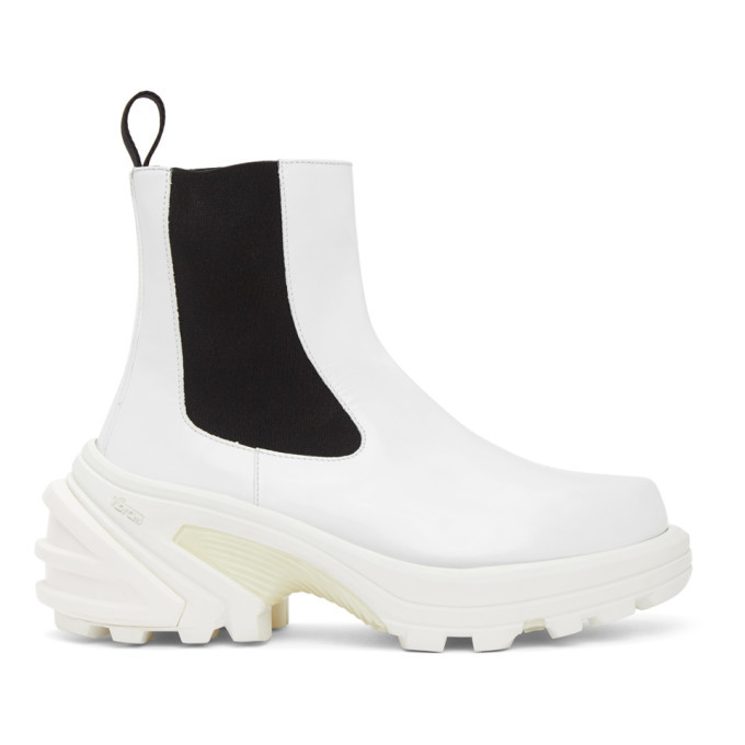 Photo: 1017 ALYX 9SM White Leather Chelsea Boots