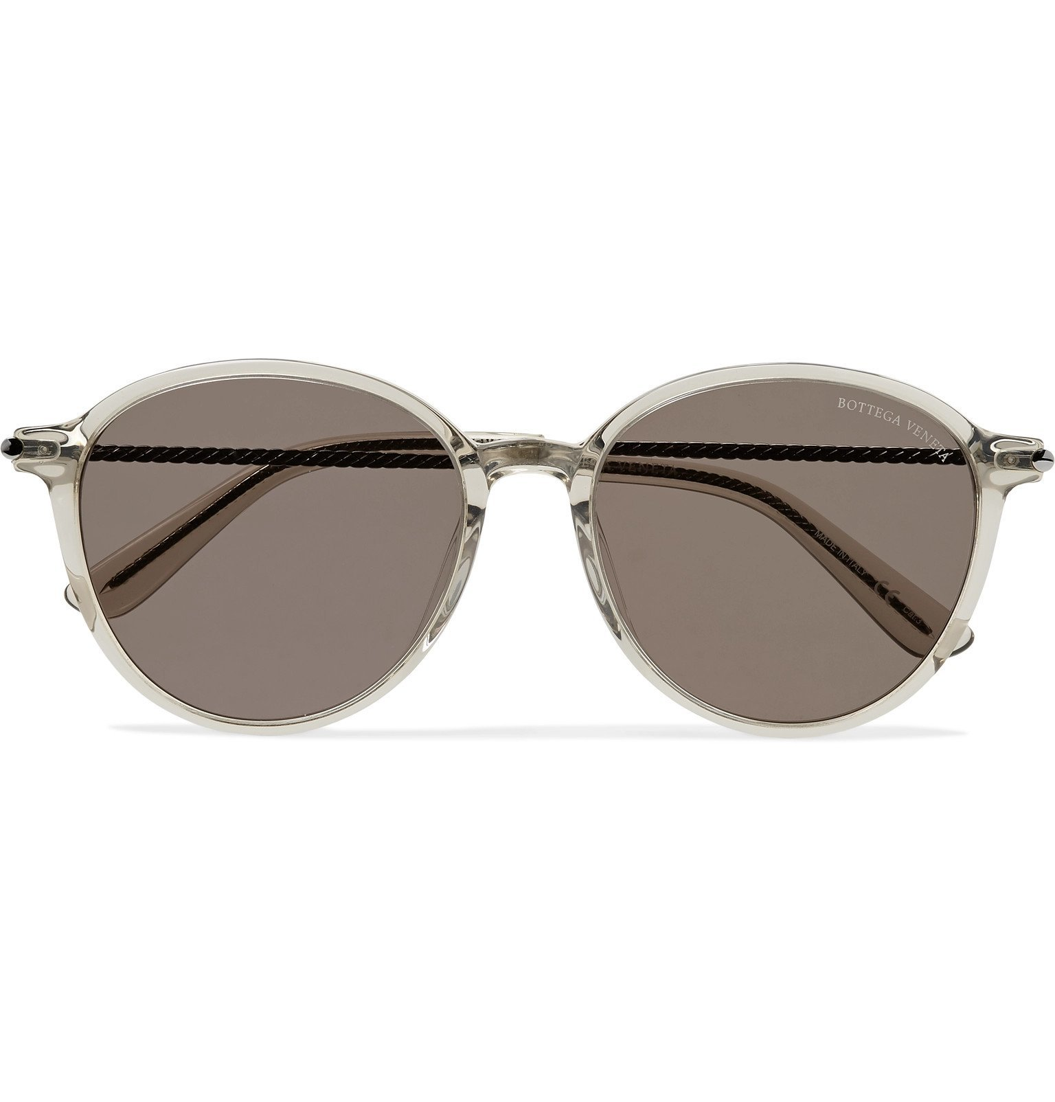 Photo: Bottega Veneta - Round-Frame Acetate and Gunmetal-Tone Sunglasses - Neutrals