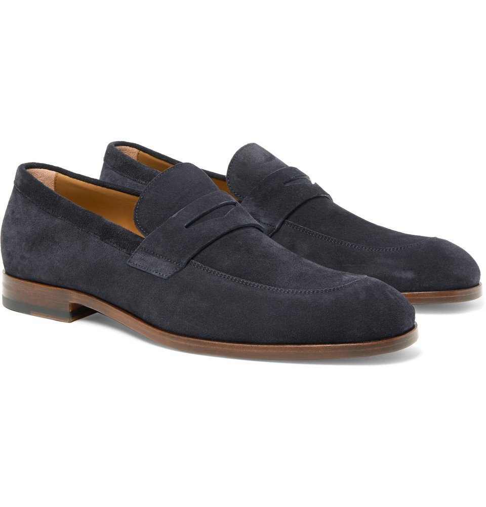 Photo: Hugo Boss - Brighton Suede Penny Loafers - Navy