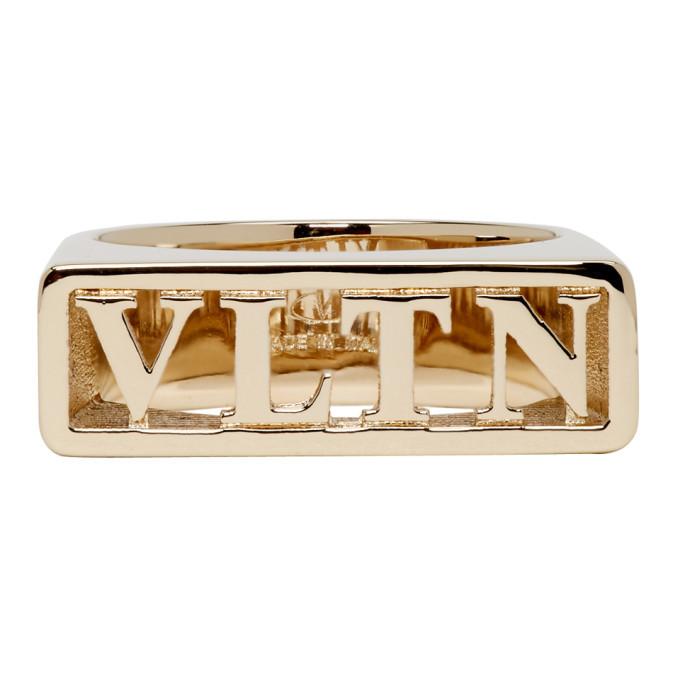 Photo: Valentino Gold Valentino Garavani Logo Ring