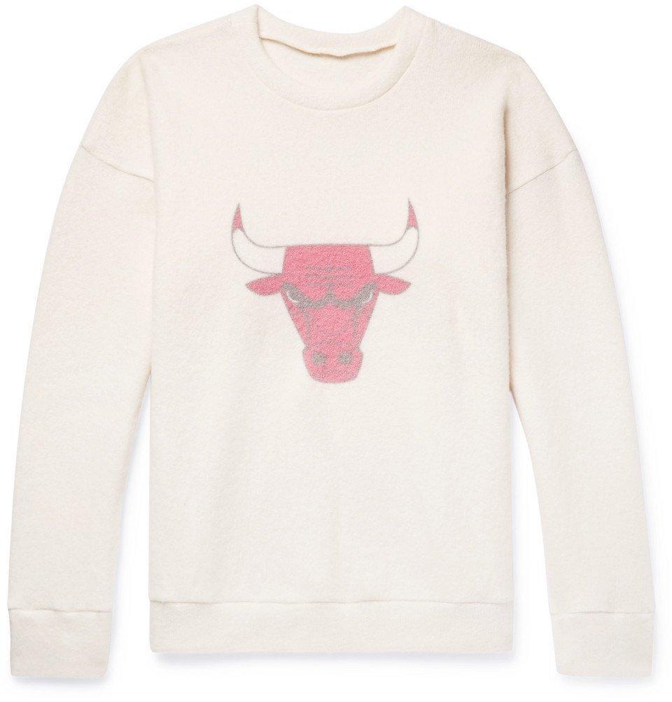 Photo: The Elder Statesman - NBA Chicago Bulls Printed Brushed Cashmere-Blend Sweatshirt - Cream