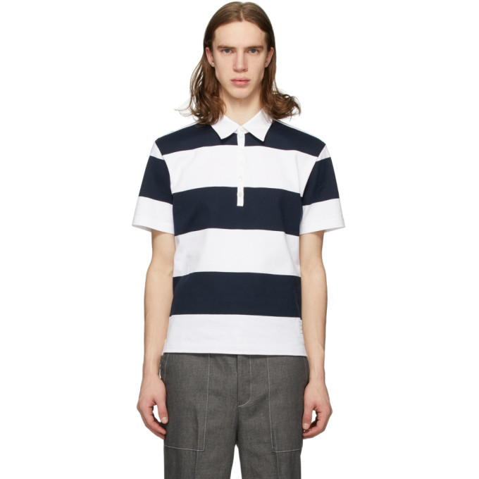 Photo: Thom Browne Navy Rugby Stripe Polo