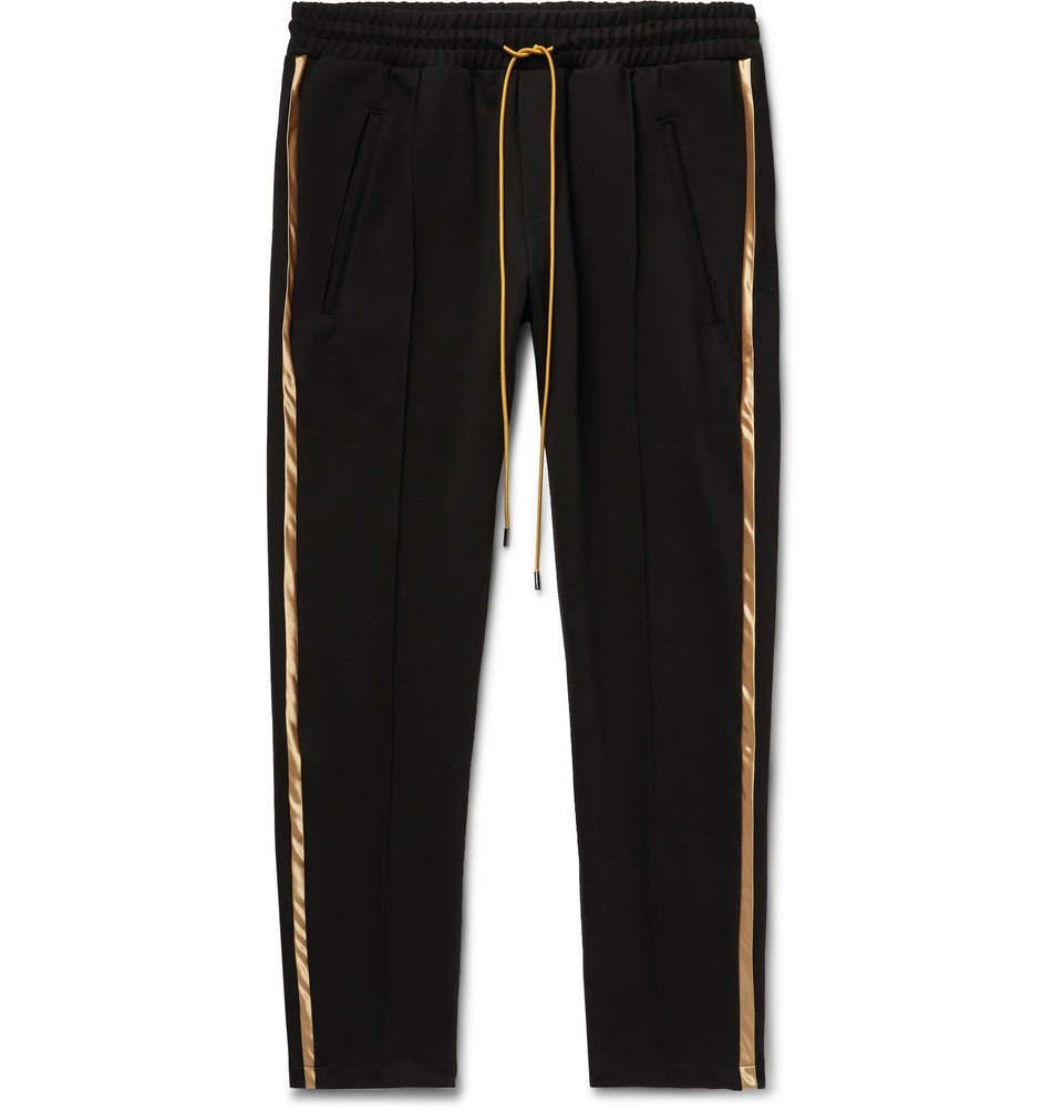 Photo: Rhude - Black Traxedo Slim-Fit Tapered Satin-Trimmed Jersey Drawstring Trousers - Black