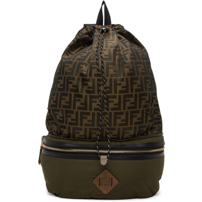 Photo: Fendi Khaki and Gold Forever Fendi Convertible Backpack