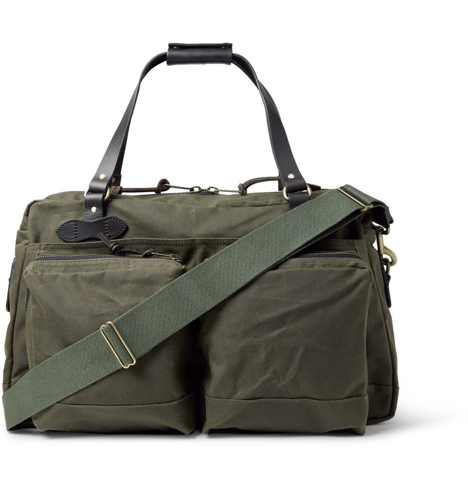 Photo: Filson - 48-Hour Leather-Trimmed Tin Cloth Duffle Bag - Green