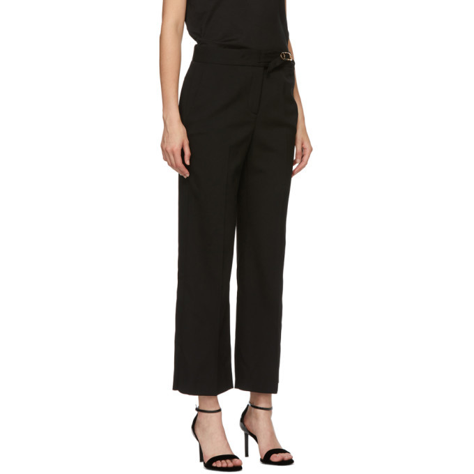 Versace Black Wool Flare Trousers