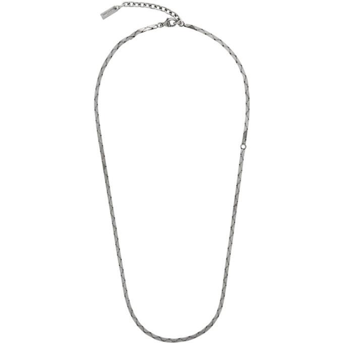 a3d795bcda2 Photo: Saint Laurent Silver Rectangular Tube Chain Necklace