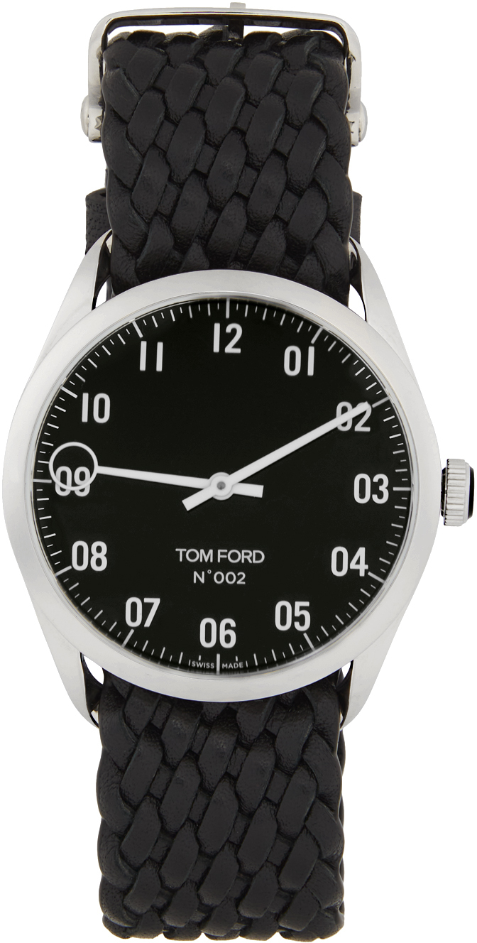 Photo: TOM FORD Silver & Black Leather 002 Watch