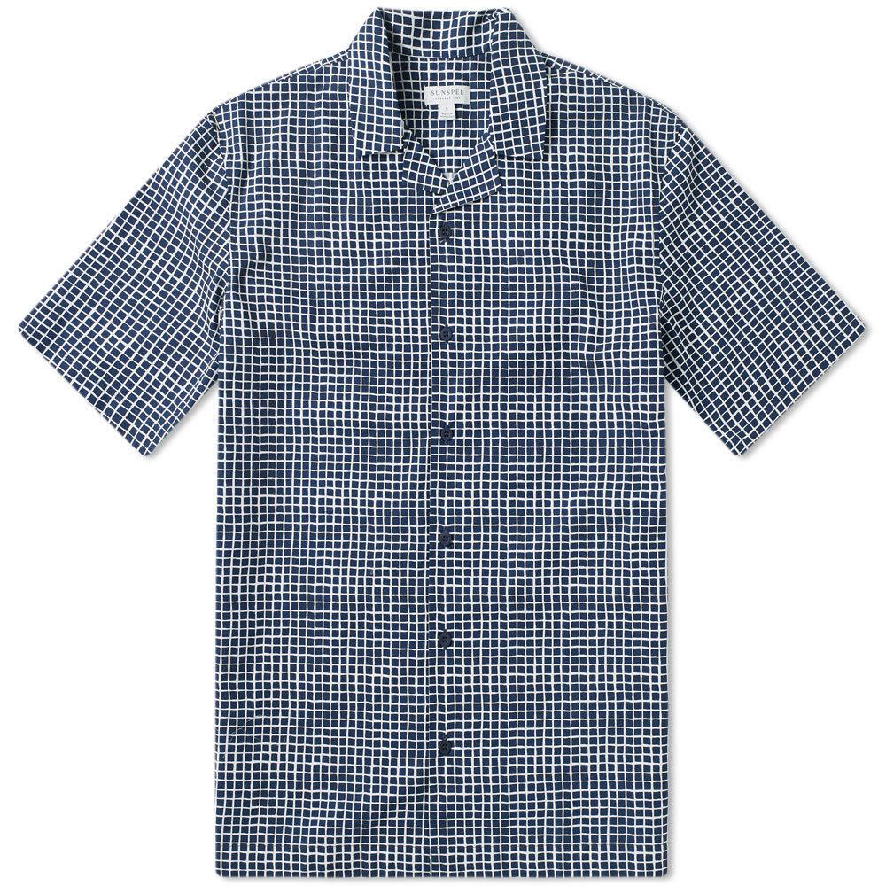 Sunspel Short Sleeve Shirt Shibori Grid Navy