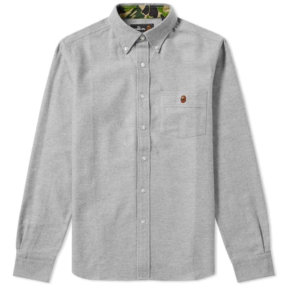 Photo: Mr. Bathing Ape Button Down Flannel Shirt Grey