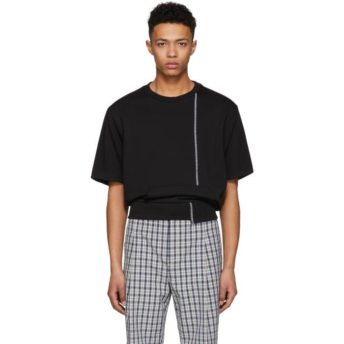 3.1 Phillip Lim Black Short Sleeve Re-Constructed Sweatshirt
