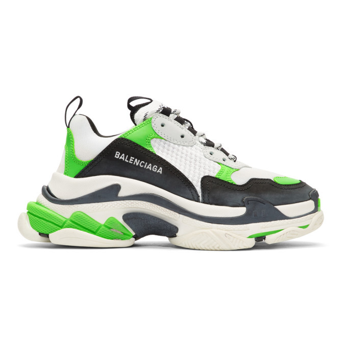 Photo: Balenciaga White and Green Triple S Sneakers