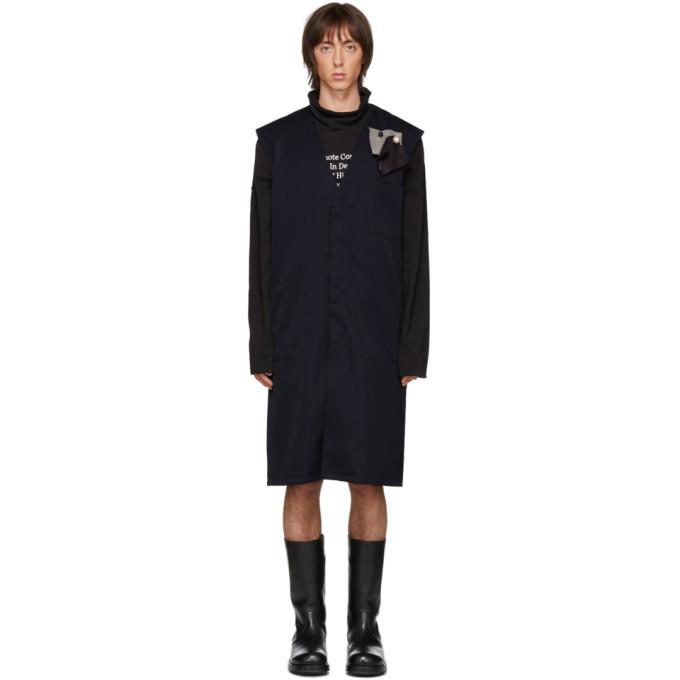 Raf Simons Navy Sleeveless Labo Coat