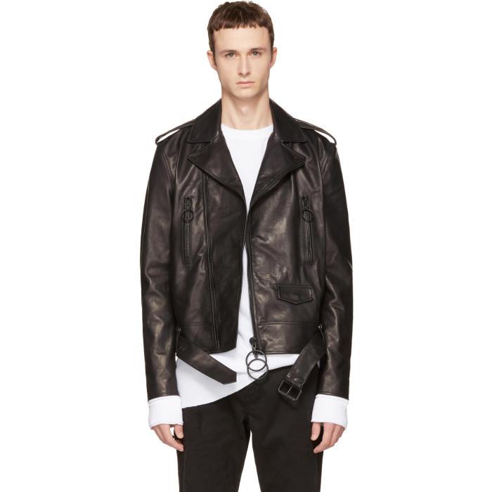 Photo: Off-White Black Leather Brushed Biker Jacket