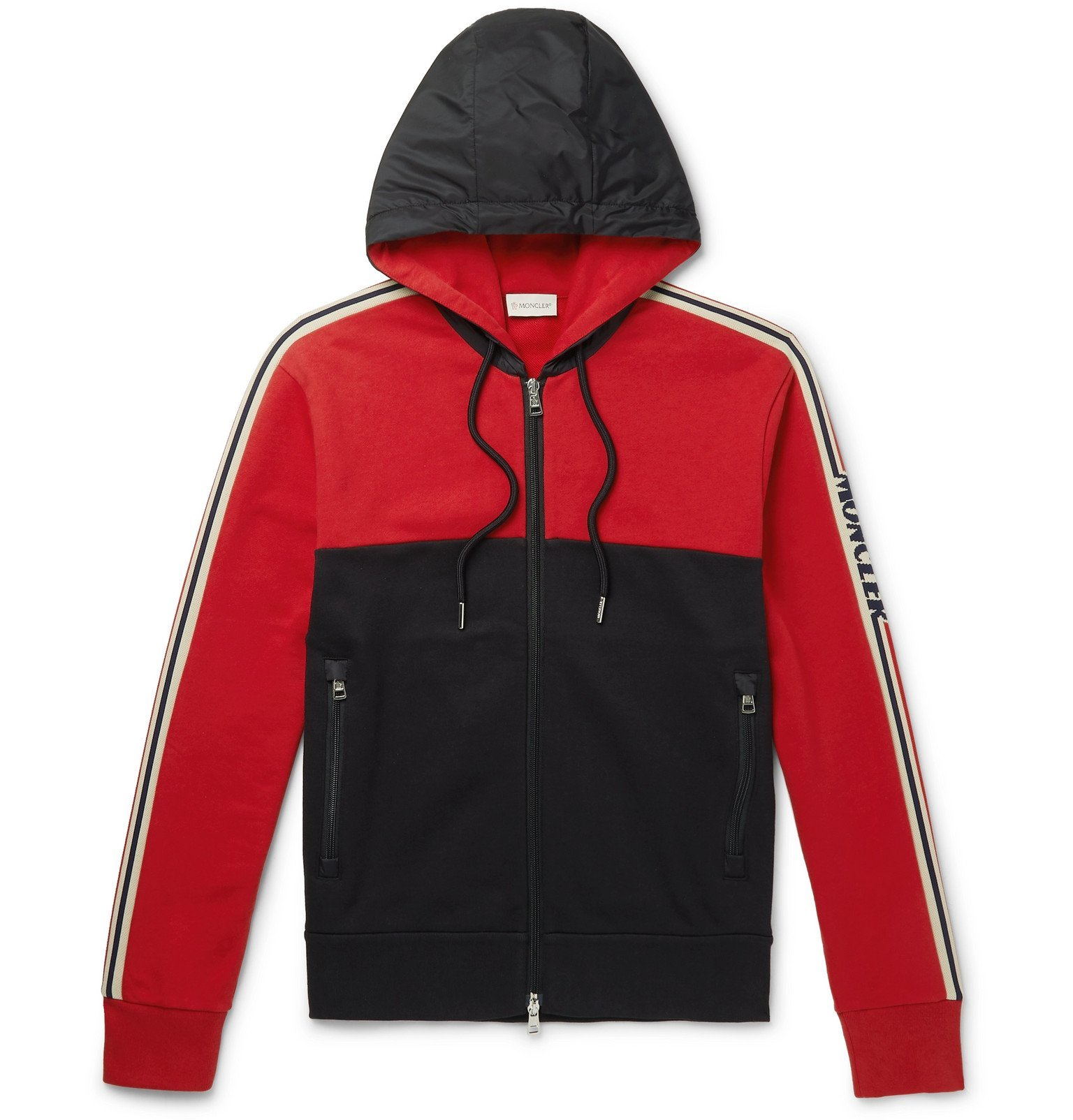 Photo: Moncler - Grosgrain-Trimmed Loopback Cotton-Jersey and Shell Zip-Up Hoodie - Red