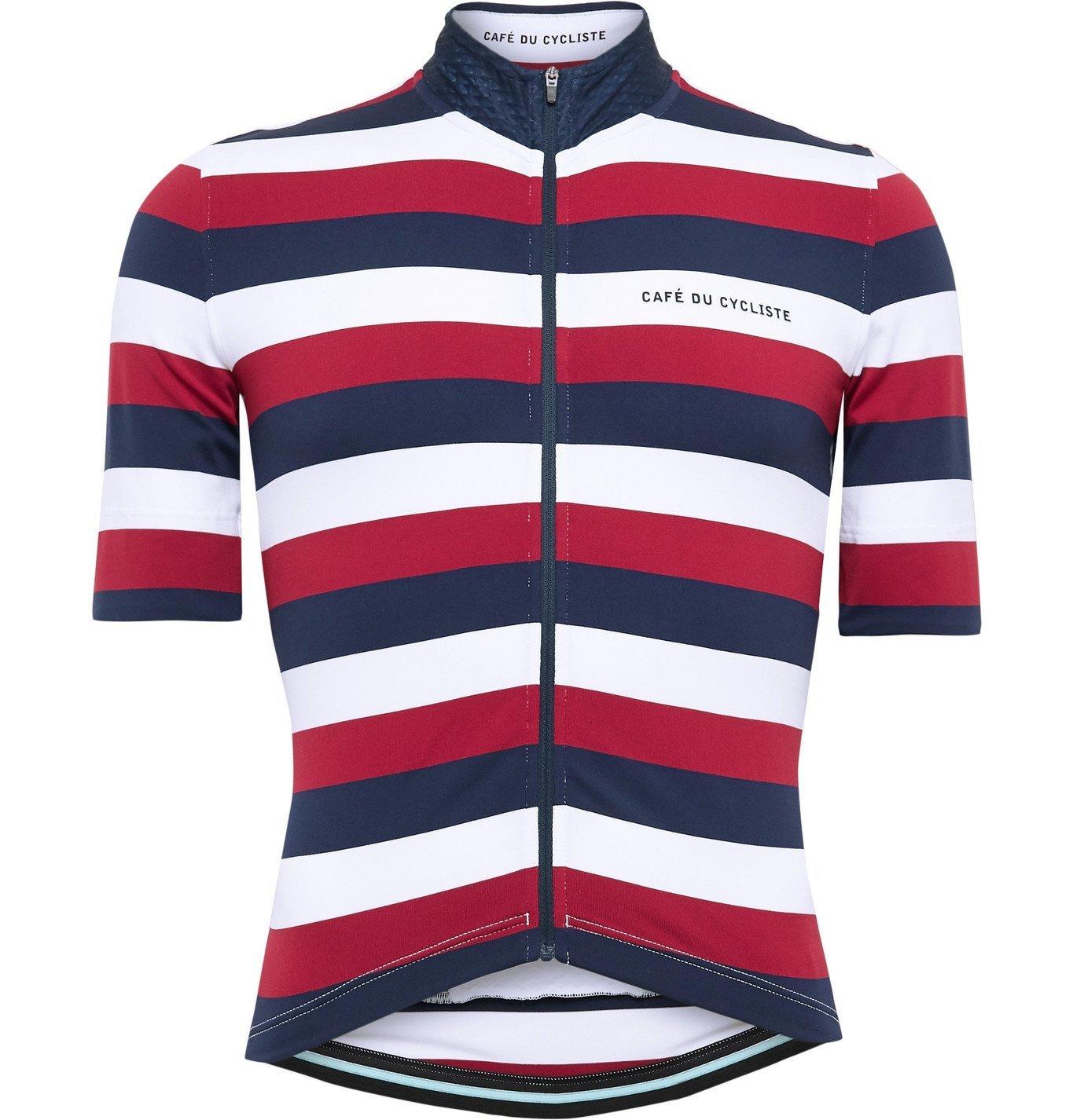 Photo: Cafe du Cycliste - Striped Cycling Jersey - Red