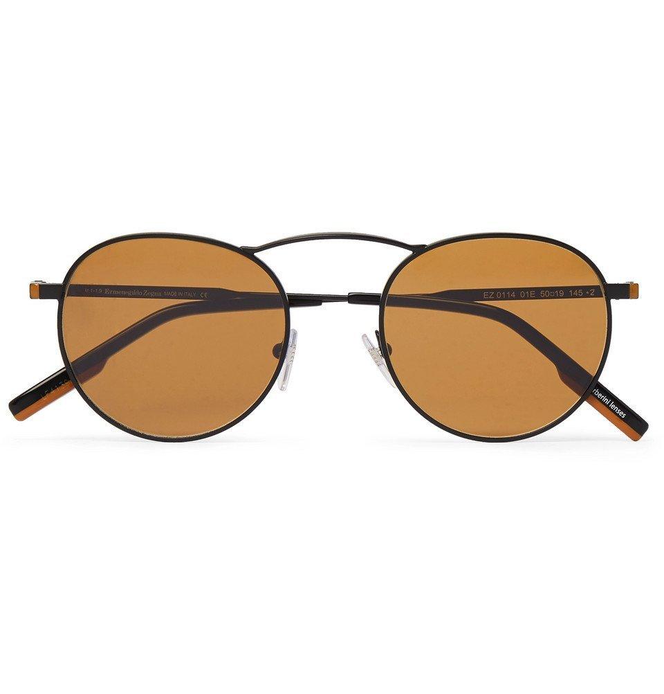 Photo: Ermenegildo Zegna - Round-Frame Gunmetal-Tone Sunglasses - Gunmetal