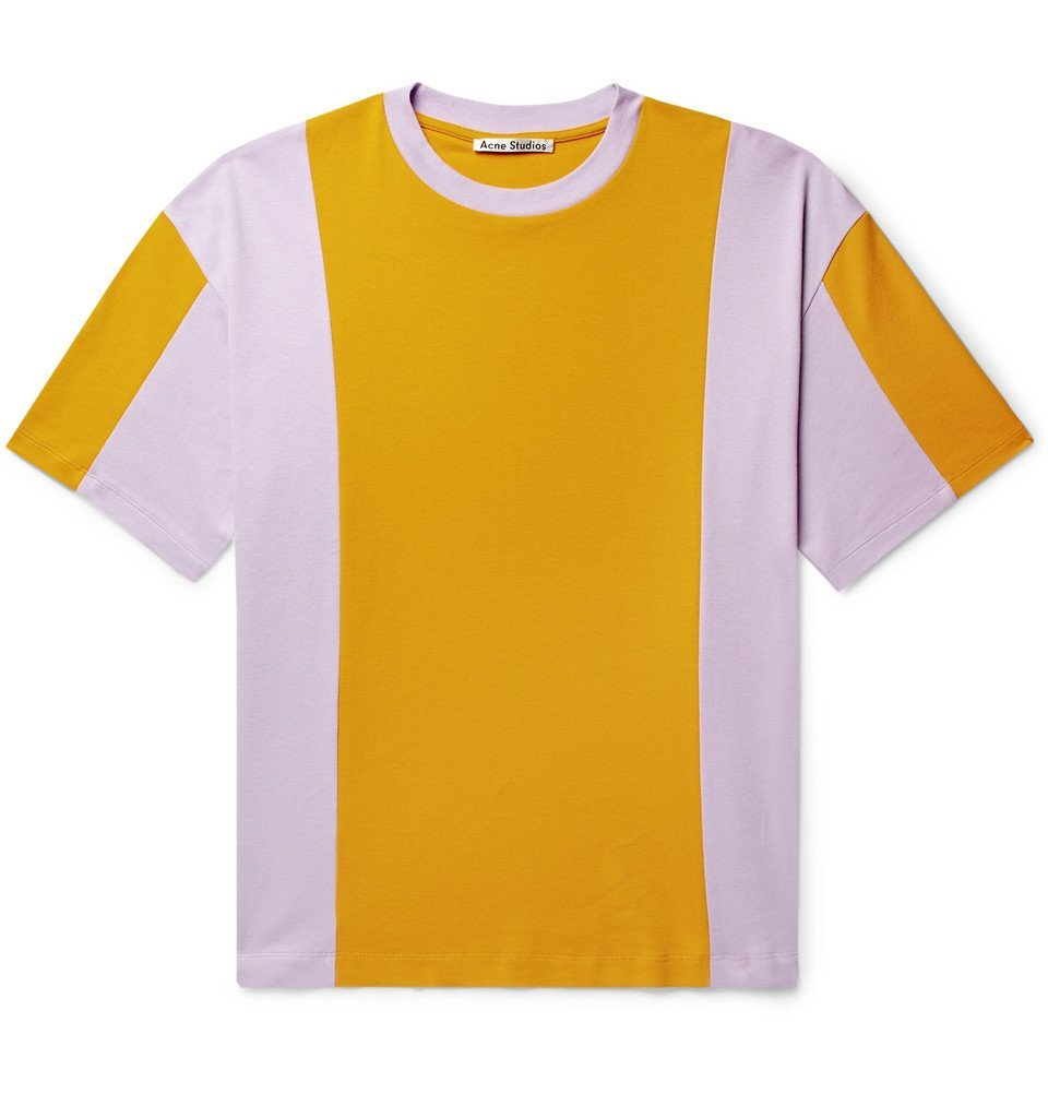 Photo: Acne Studios - Eban Colour-Block Cotton-Jersey T-Shirt - Saffron