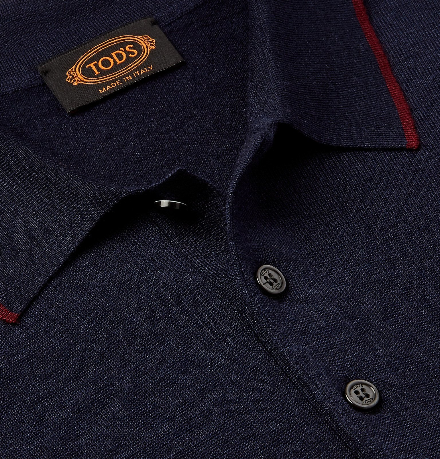 Tod's - Slim-Fit Striped Merino Wool and Silk-Blend Polo Shirt - Blue
