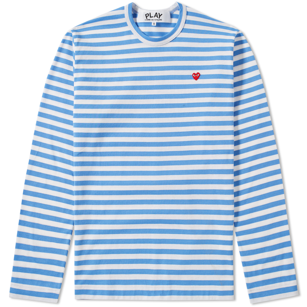 Photo: Comme des Garcons Play Little Red Heart Long Sleeve Stripe Tee Blue