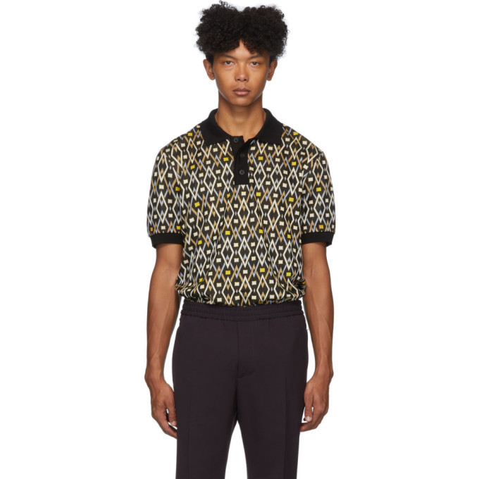 Photo: Joseph Black and Multicolor Geometric Polo