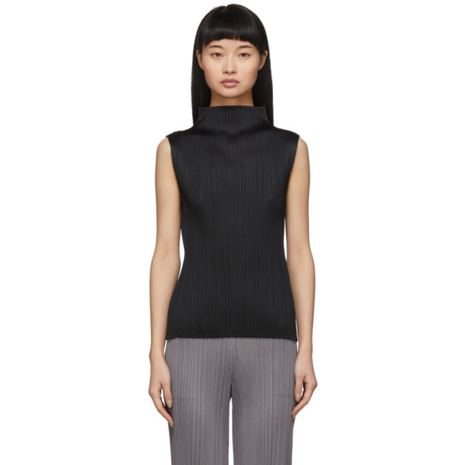 Photo: Pleats Please Issey Miyake Black Pleats Basics Sleeveless Turtleneck