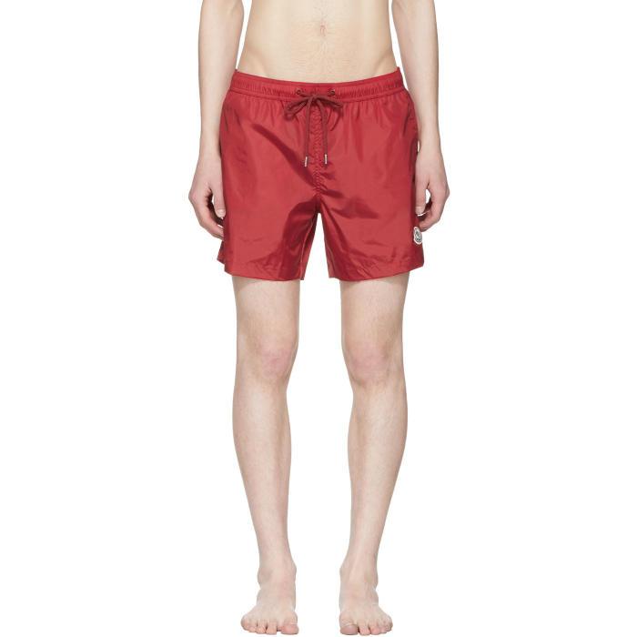 Moncler Red Small Logo Swim Shorts