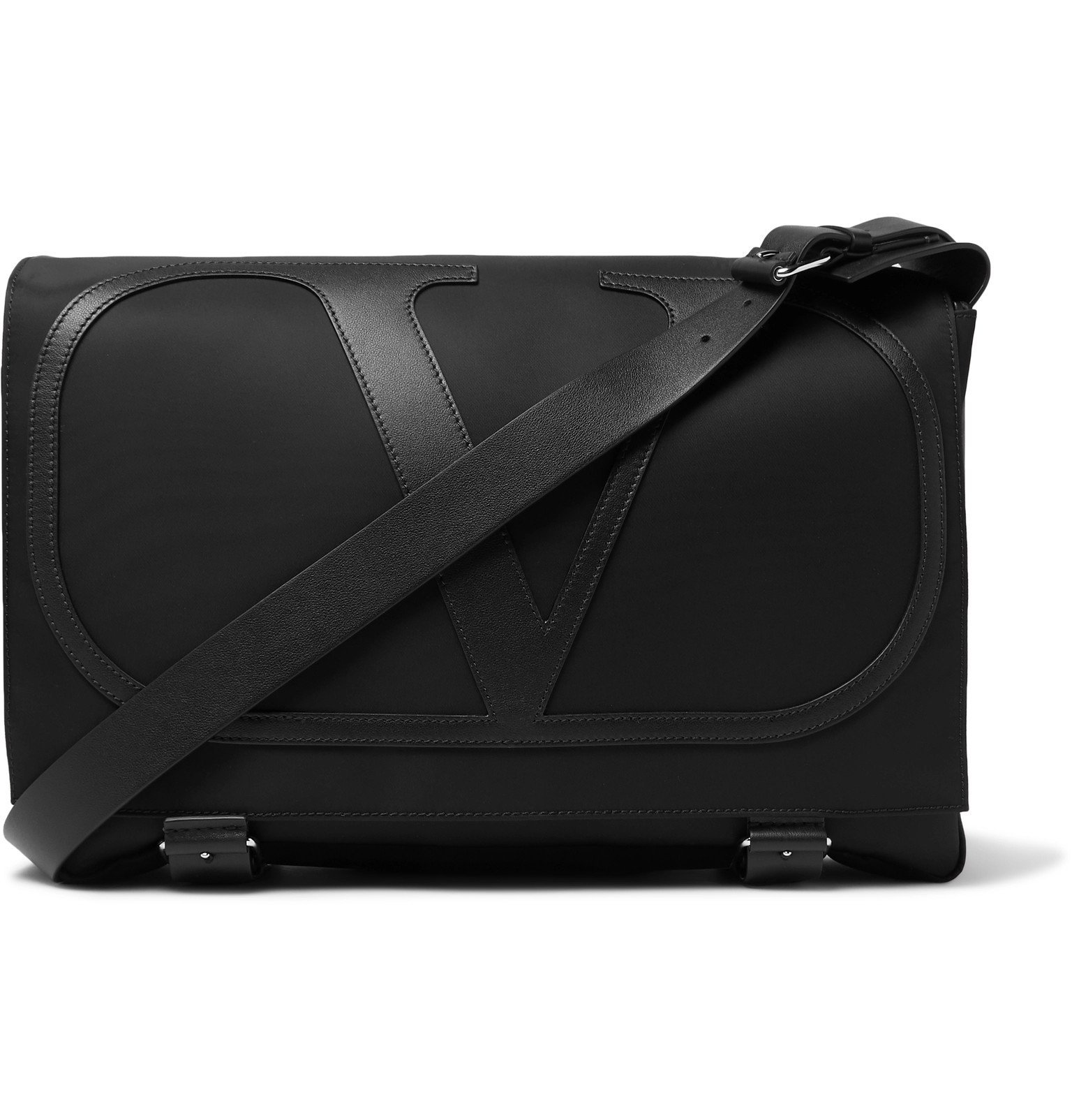 Photo: Valentino - Valentino Garavani Logo-Detailed Leather-Trimmed Nylon Messenger Bag - Black