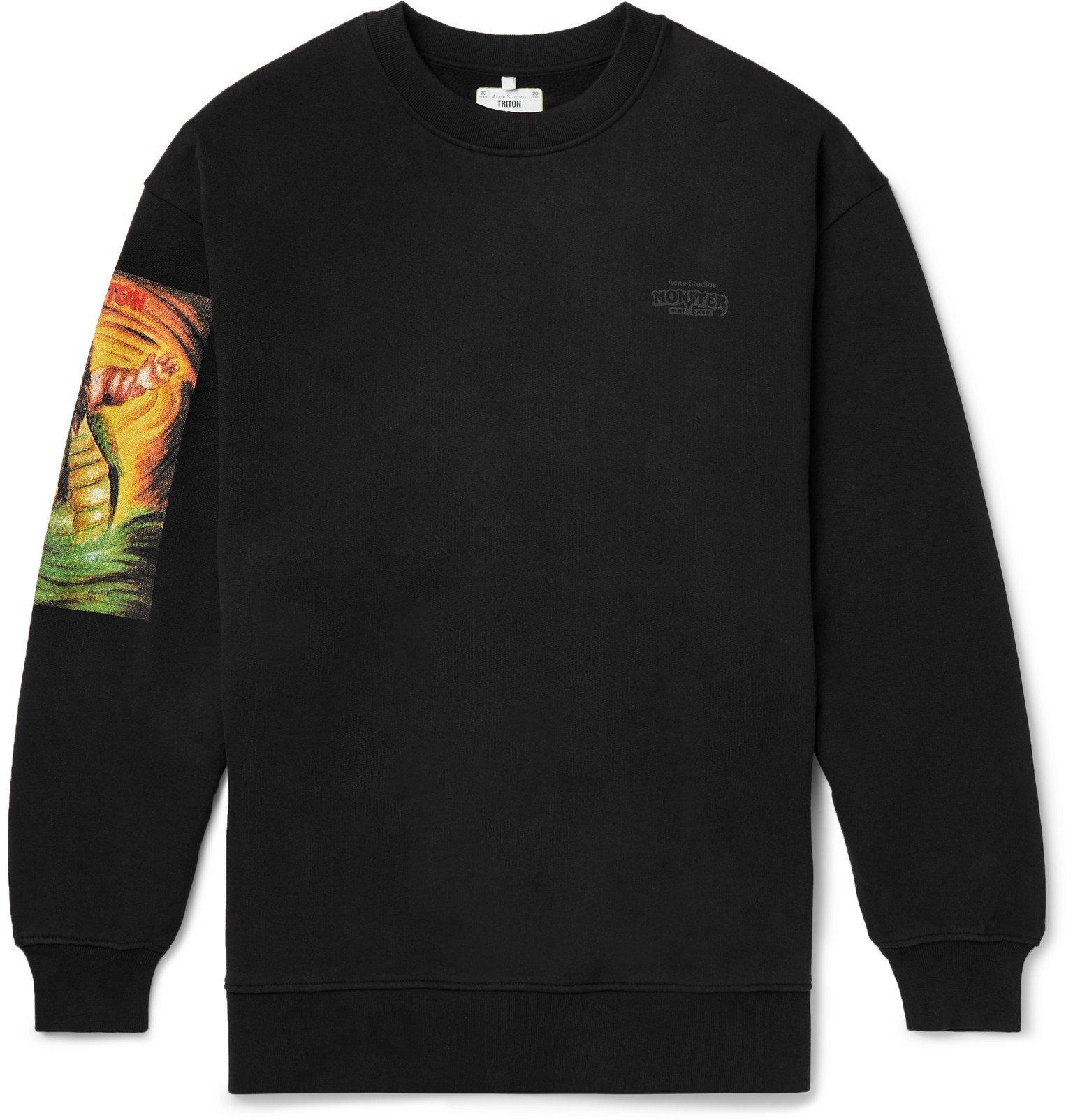 Photo: Acne Studios - Monster in My Pocket Forban Printed Fleece-Back Cotton-Jersey Sweatshirt - Black