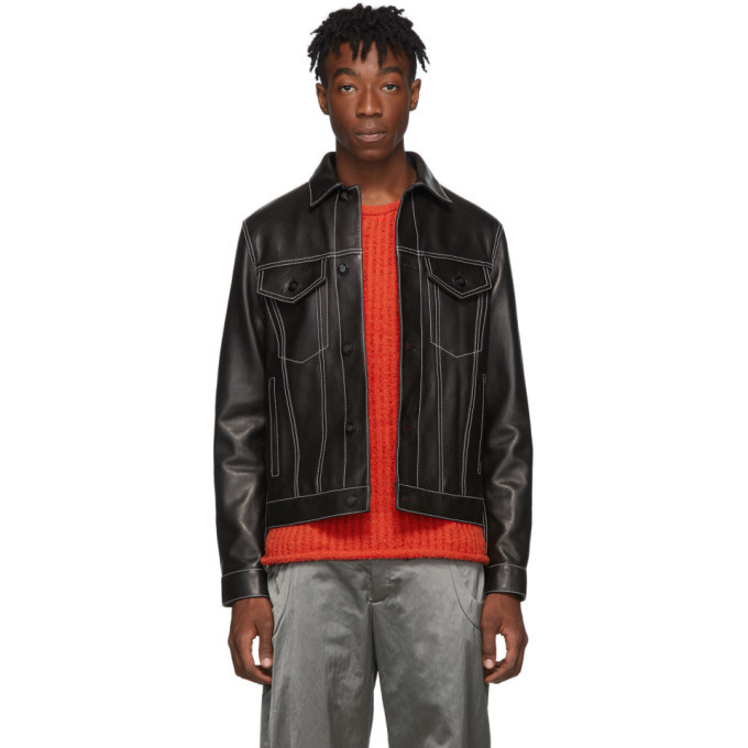 Photo: Marni Black Leather Trucker Jacket