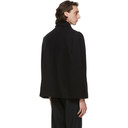 Raf Simons Black Wool Zipped Cape Jacket