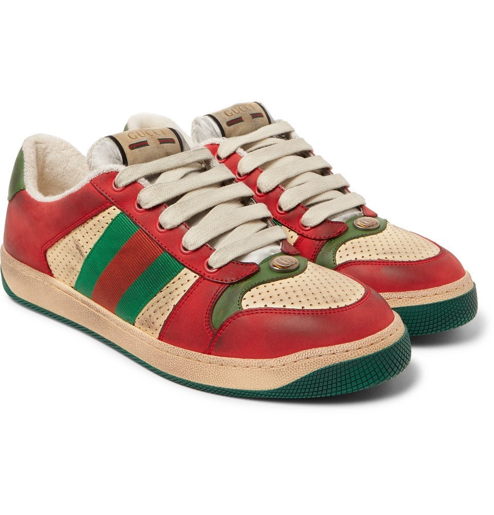 Photo: Gucci - Virtus Distressed Leather and Webbing Sneakers - Red