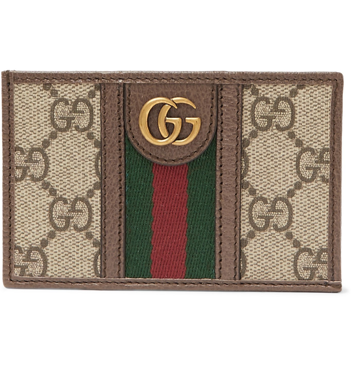 Photo: Gucci - Ophidia Webbing-Trimmed Leather and Monogrammed Coated-Canvas Cardholder - Brown