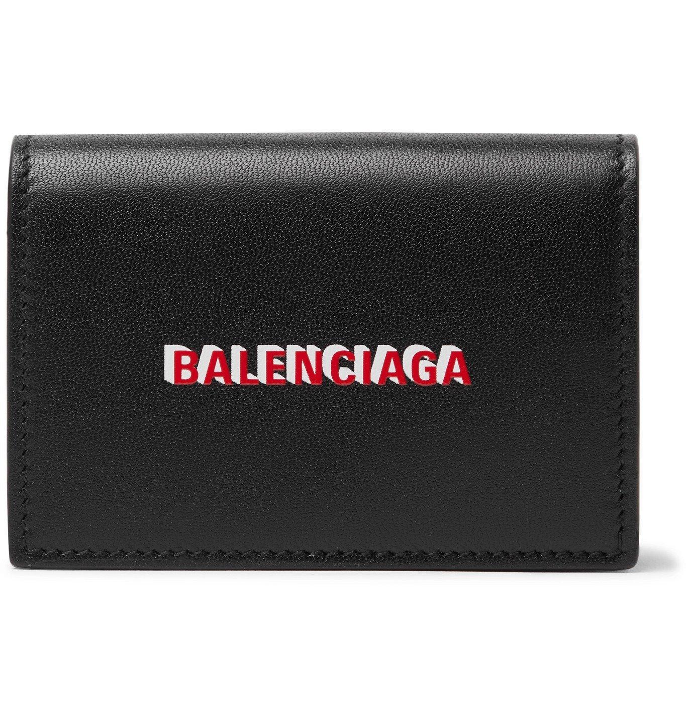 Photo: Balenciaga - Logo-Print Leather Trifold Wallet - Black